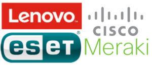 Logos de Lenovo, ESET et Cisco Meraki
